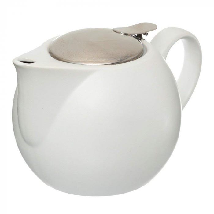 Ceainic Ceramic cu infuzor metalic, Alb, 750 ML 0