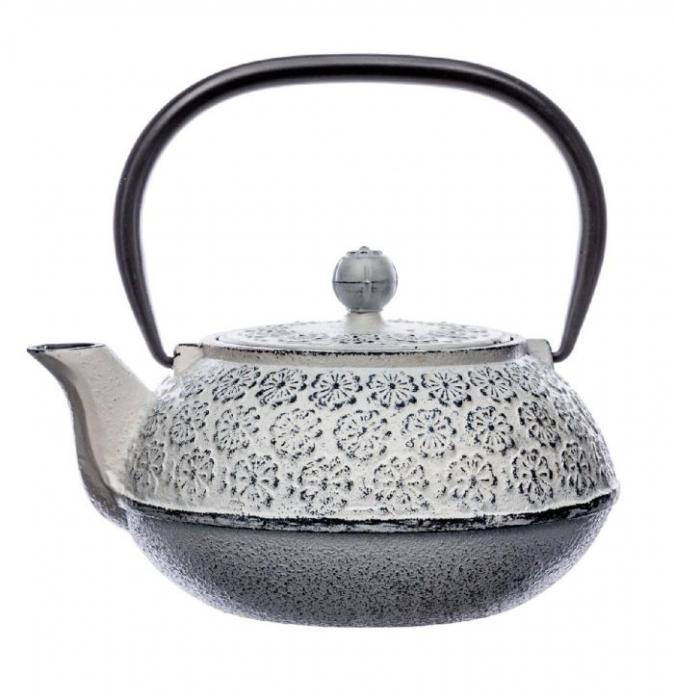Ceainic din fonta Alb, cu infuzor detasabil,1 Litru 1