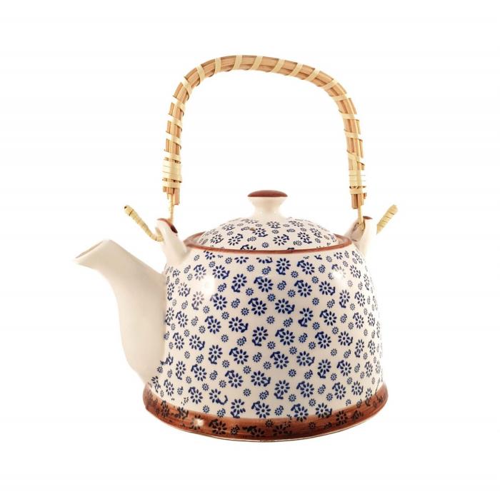 Ceainic Ceramic cu maner din Bambus, Albastru Flowers, 800 ml