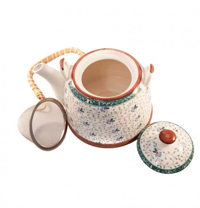 Ceainic Ceramic cu infuzor, maner Bambus, 800 ml, Verde 1