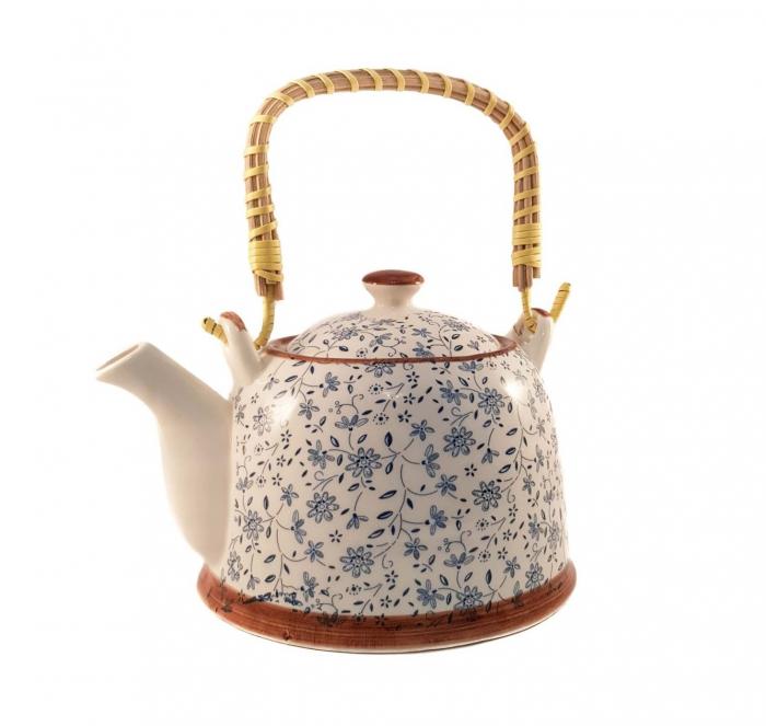 Ceainic Ceramic Albastru, cu maner din bambus, 800 ml [0]