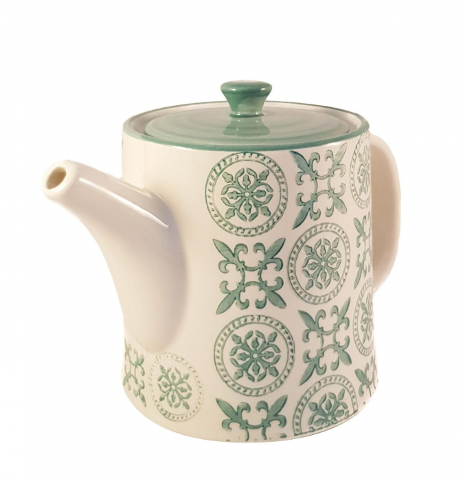 Ceainic French Clasic  din Ceramica, Verde inchis, 700 ml 0