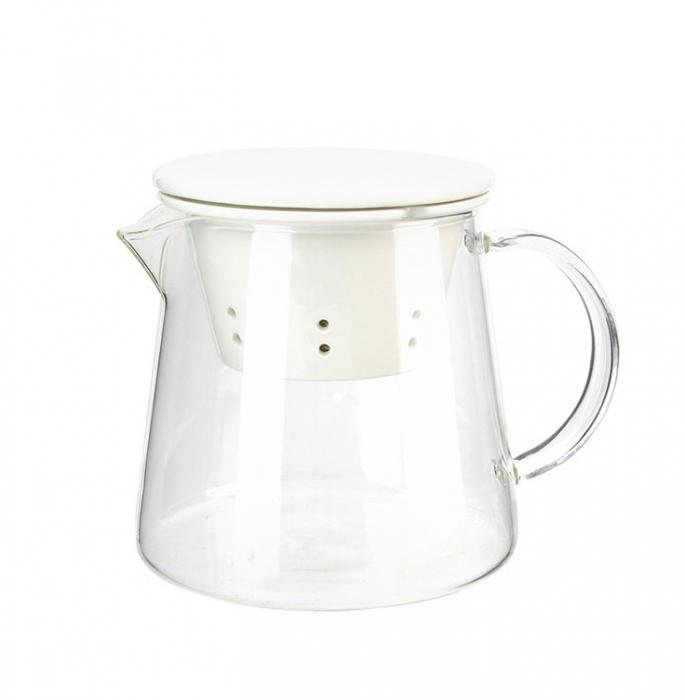 Ceainic din sticla, cu capac si infuzor din portelan, 650 ml 1