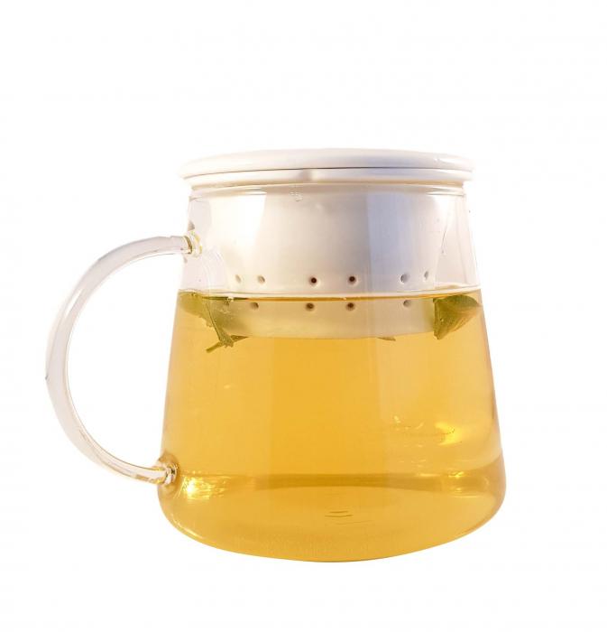 Ceainic din sticla, cu capac si infuzor din portelan, 650 ml 2