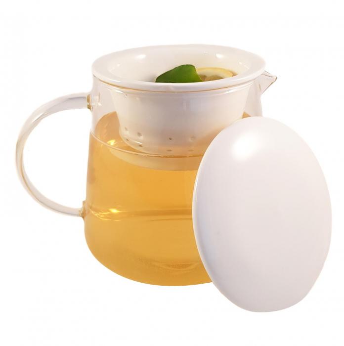 Ceainic din sticla, cu capac si infuzor din portelan, 650 ml 0
