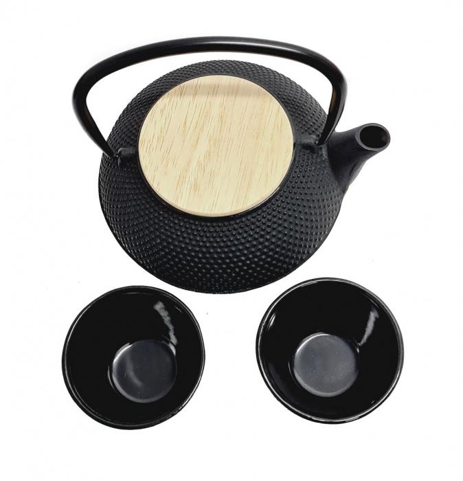 Ceainic din fonta cu capac din Bambus si 2 cesti, 800 ml 1