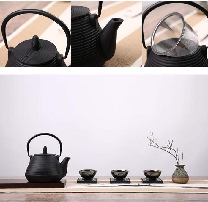 Ceainic din fonta cu infuzor detasabil, Negru, 1 L 2