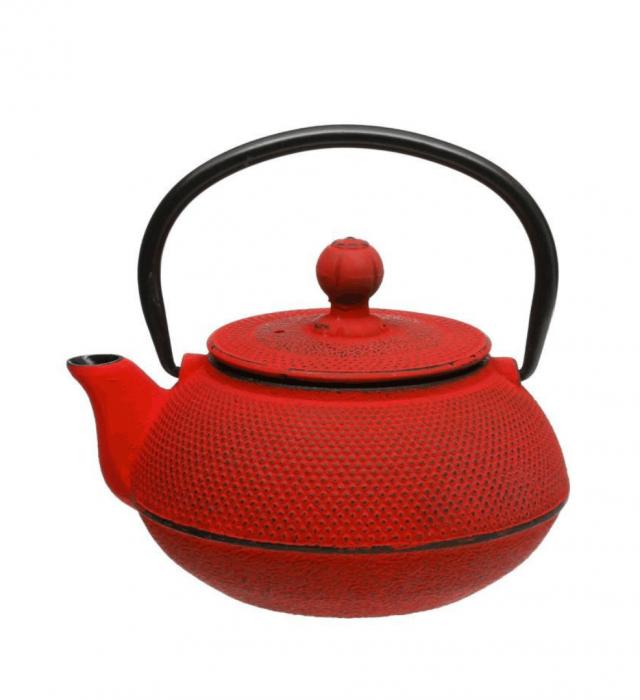 Ceainic din fonta cu infuzor detasabil, Rosu, 600 ml 0