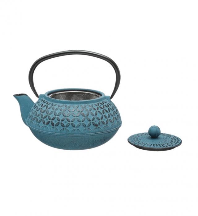 Ceainic din fonta cu infuzor detasabil, Turcoaz, 1 L 1