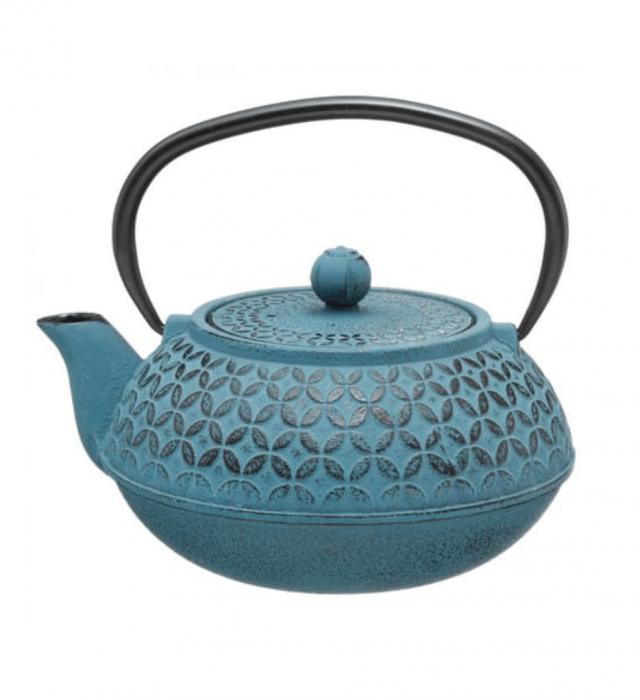 Ceainic din fonta cu infuzor detasabil, Turcoaz, 1 L 0