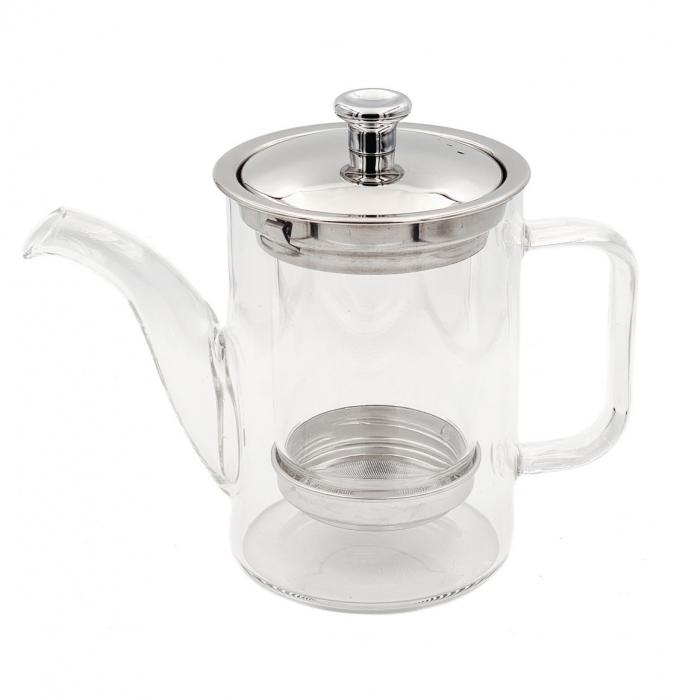 Ceainic din Sticla cu infuzor si capac metalic, 600 ml [0]