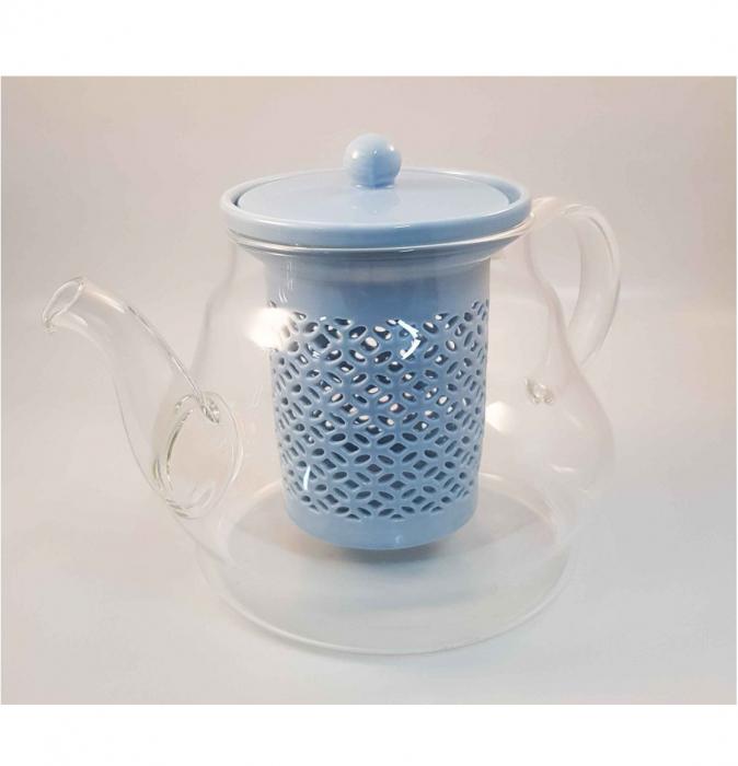Ceainic din Sticla cu Infuzor si capac din Ceramica, 800 ml 0