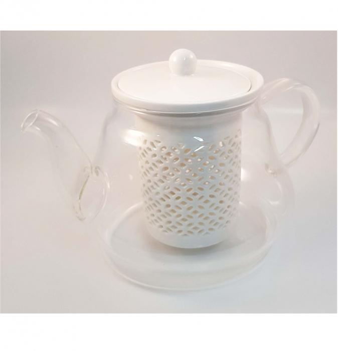 Ceainic din Sticla cu Infuzor si capac din Ceramica, 800 ml 2