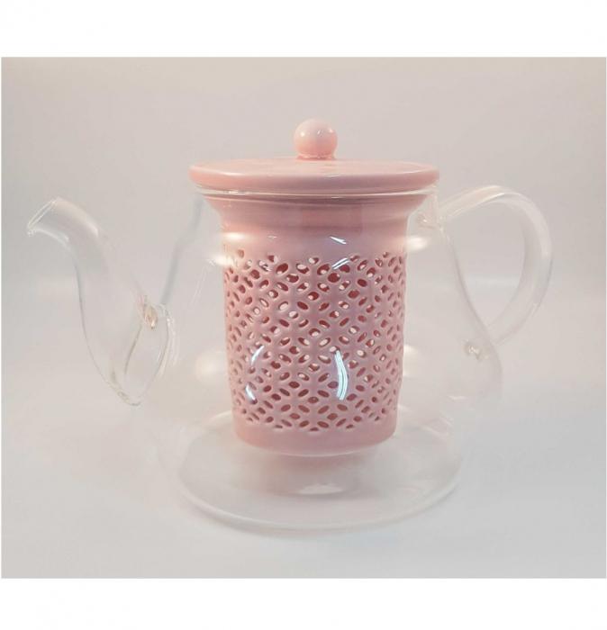 Ceainic din Sticla cu Infuzor si capac din Ceramica, 800 ml 1