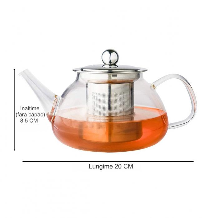 Ceainic din sticla termorezistenta, 850 ml 2