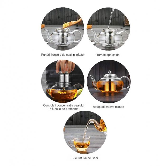 Ceainic din sticla termorezistenta, 850 ml 6