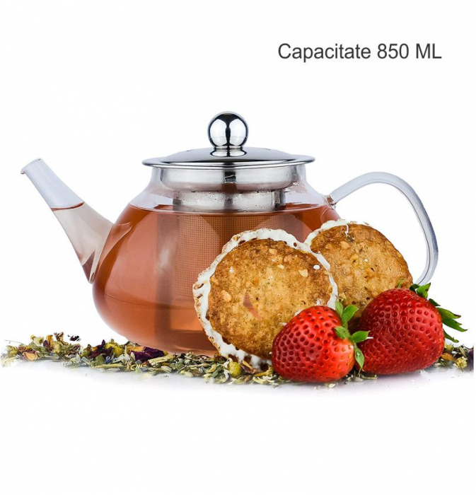 Ceainic din sticla termorezistenta, 850 ml 4