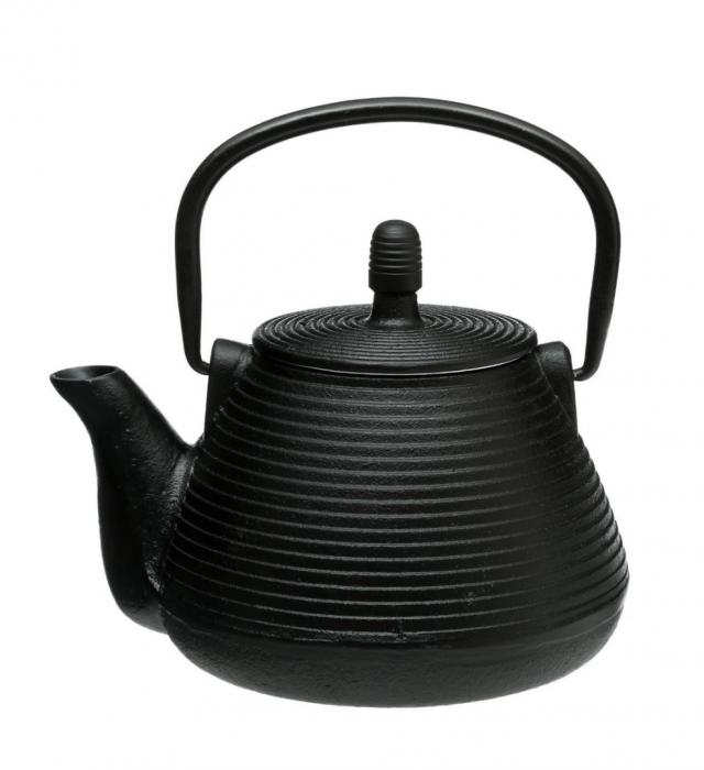 Ceainic din fonta cu infuzor detasabil, Negru, 1 L 0