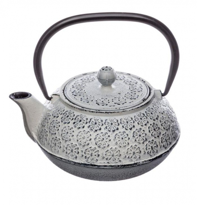 Ceainic din fonta Alb, cu infuzor detasabil,1 Litru 0