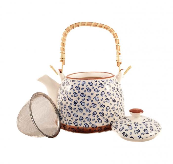 Ceainic Ceramic cu maner din Bambus, Albastru Flowers, 800 ml 1
