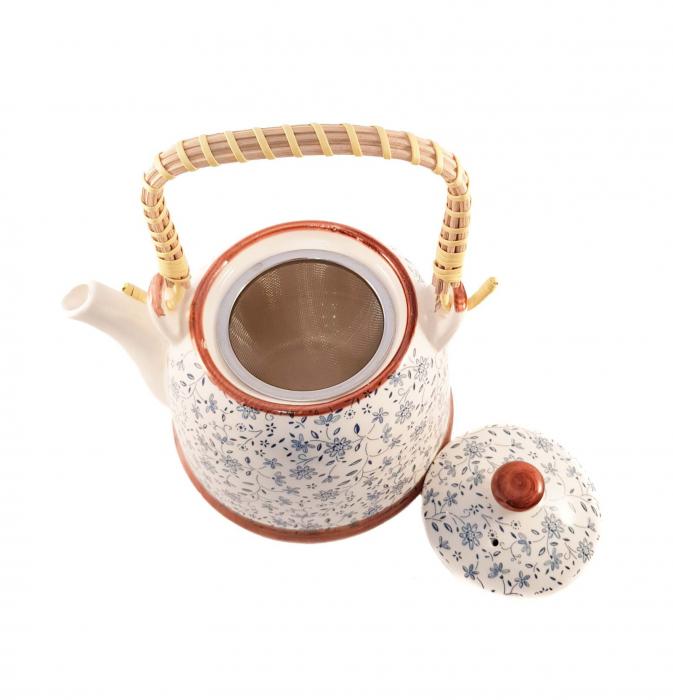 Ceainic Ceramic Albastru, cu maner din bambus, 800 ml [1]