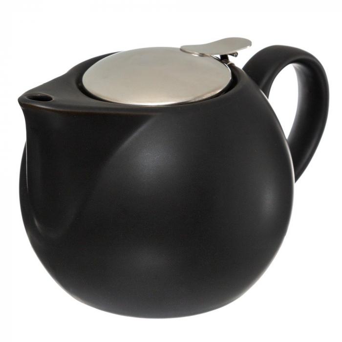 Ceainic Ceramic cu infuzor metalic, Negru, 750 ML 0
