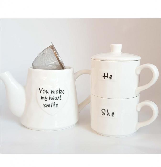 Set Tea For Two, Ceainic 460 ML cu infuzor si 2 Cani SHE&HE, Portelan 1