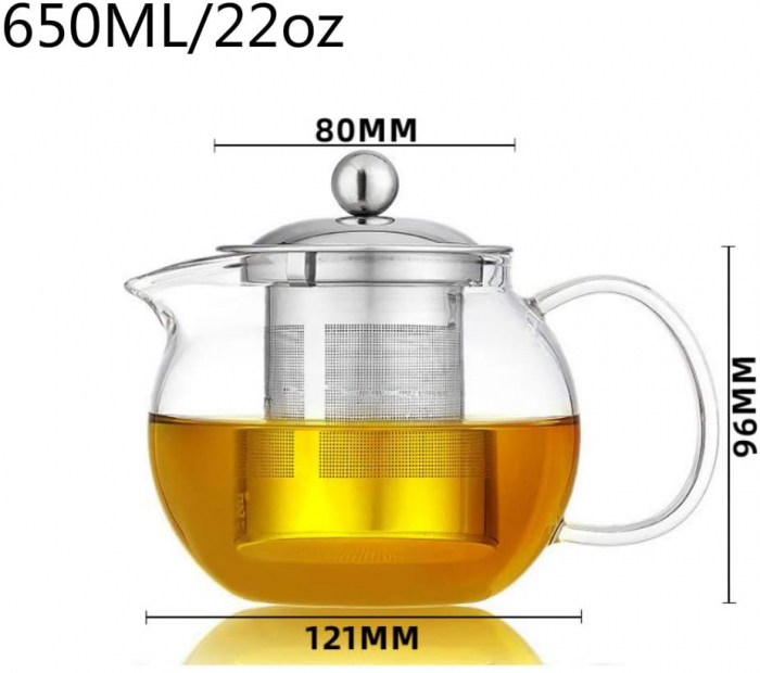 Ceainic din sticla Borosilicata  cu infuzor metalic, 650 ml [3]