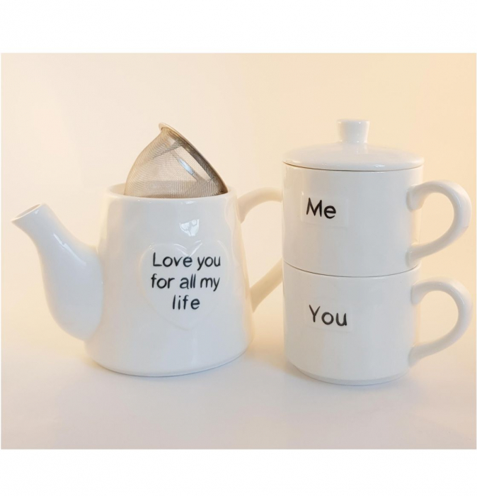 Set Tea For Two, Ceainic 460 ML cu infuzor si 2 Cani YOU&ME, Portelan 1