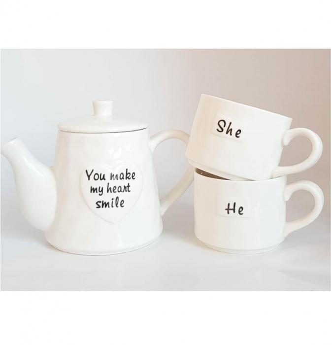 Set Tea For Two, Ceainic 460 ML cu infuzor si 2 Cani SHE&HE, Portelan 2