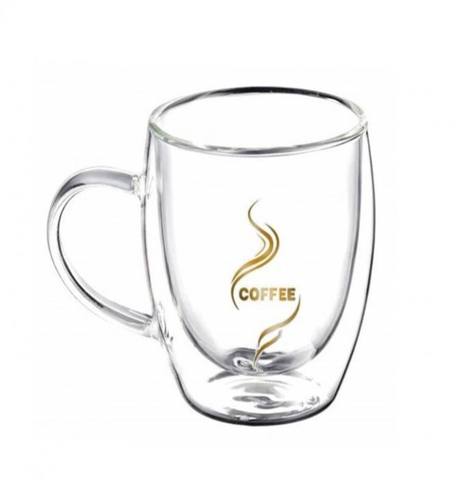 Set 2 Cani COFFEE 350 ml, din sticla borosilicata cu pereti dubli [1]