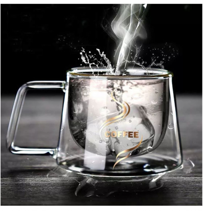 Ceasca COFFEE din sticla borosilicata cu pereti dubli, 230 ml 2