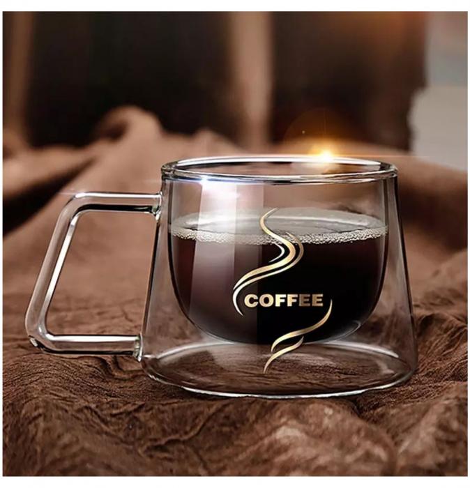 Set 2 Cesti COFFEE din sticla borosilicata cu pereti dubli, 200 ml [2]