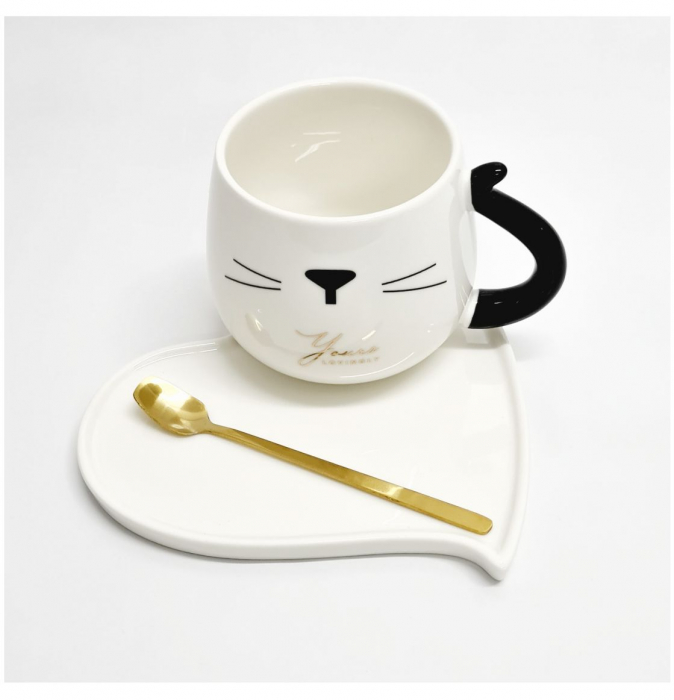 Ceasca cu farfurie si lingurita, CAT AND HEART, Alb 1