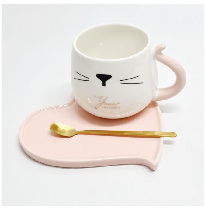 Ceasca cu farfurie si lingurita, CAT AND HEART, Roz [1]