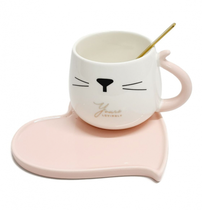 Ceasca cu farfurie si lingurita, CAT AND HEART, Roz [0]