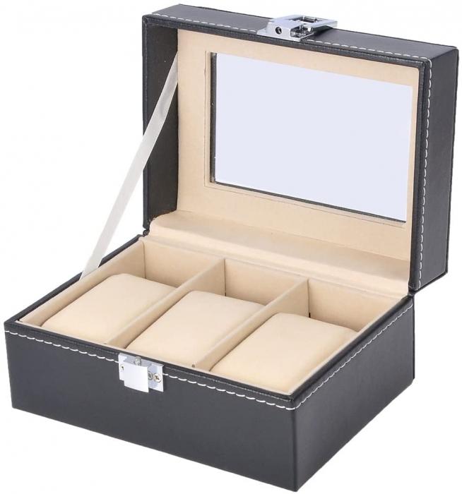 Cutie pentru 3 Ceasuri din piele ecologica 16x11x8 CM 0