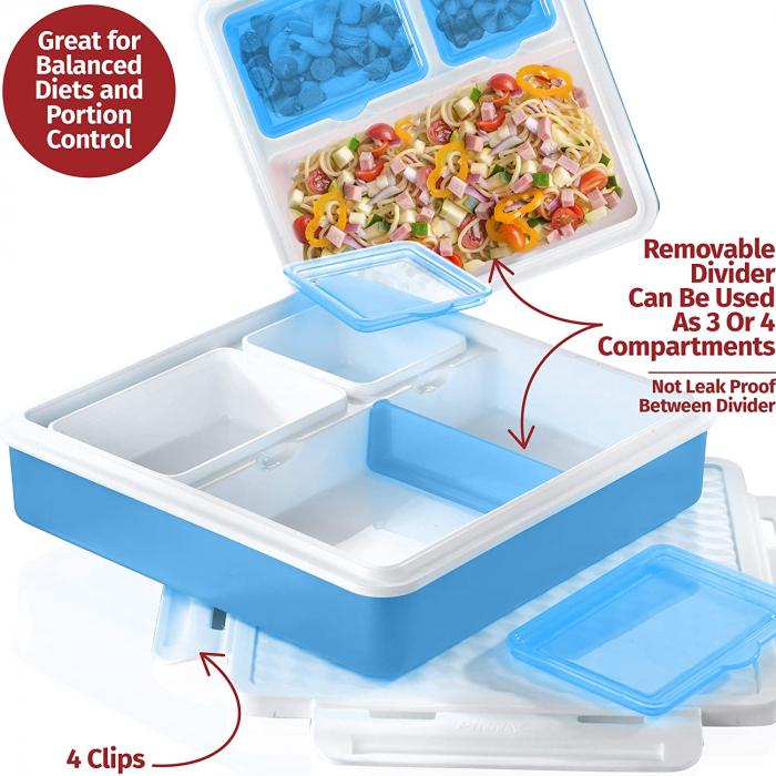 Cutie alimente Lunch Box 4 compartimente, Penta Go, Albastru 1