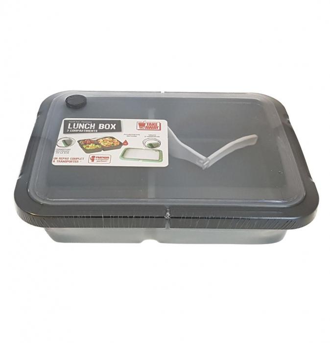 Cutie alimente LUNCH BOX, Negru, 3 compartimente,1 litru 1
