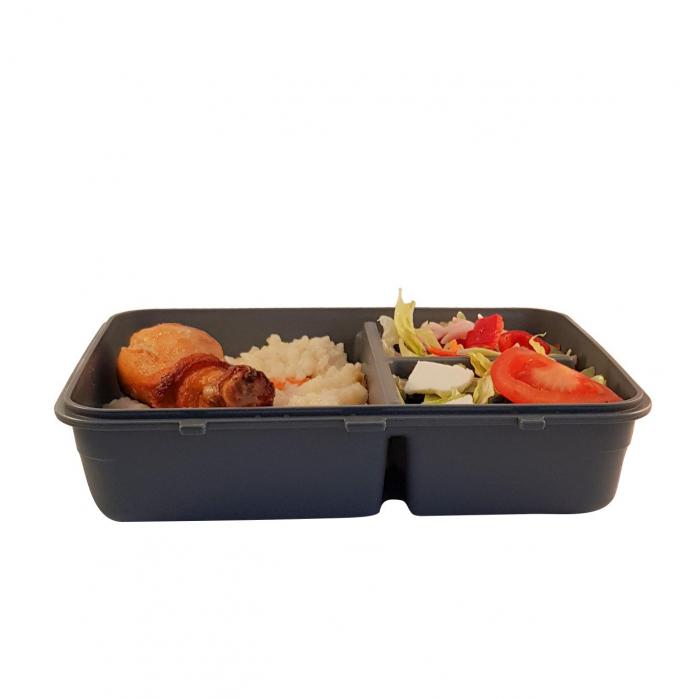 Cutie alimente LUNCH BOX, Negru, 3 compartimente,1 litru 3
