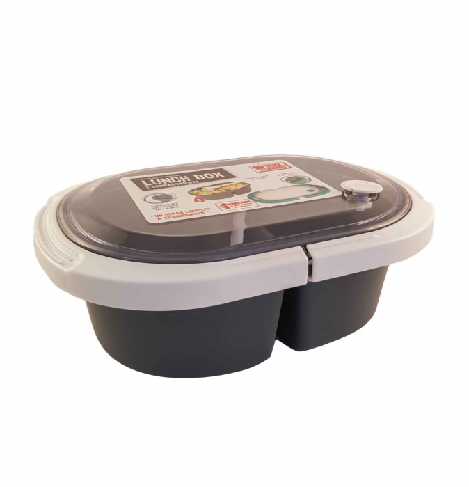 Cutie alimente LUNCH BOX ovala, Alb, 2 compartimente,800 ml 2