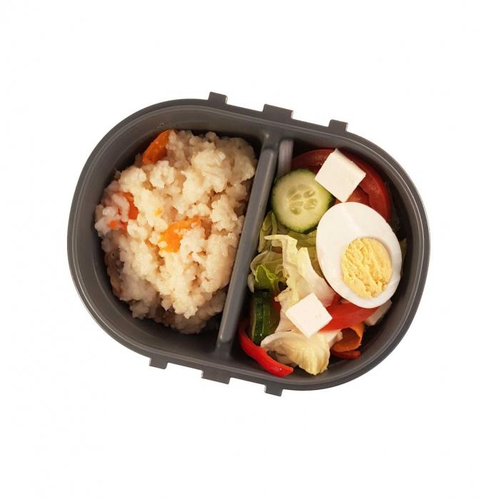 Cutie alimente LUNCH BOX ovala, Alb, 2 compartimente,800 ml 1