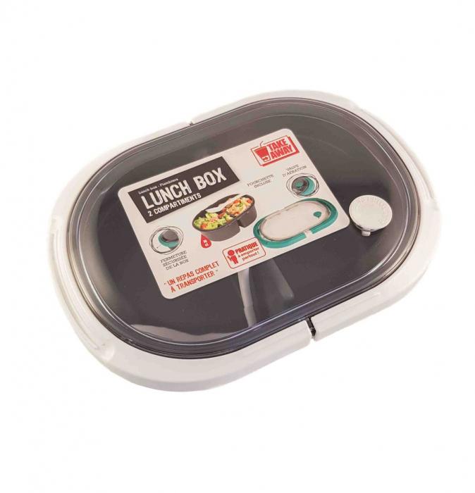 Cutie alimente LUNCH BOX ovala, Alb, 2 compartimente,800 ml 0