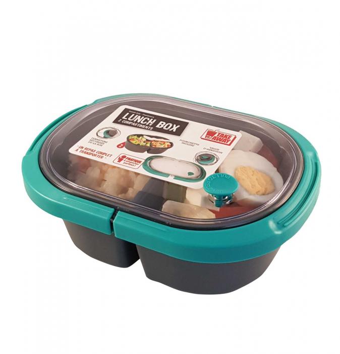 Cutie alimente LUNCH BOX ovala, Verde, 2 compartimente,800 ml 0