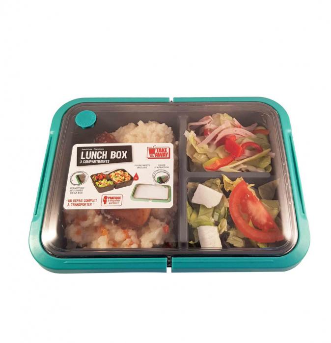Cutie alimente LUNCH BOX, Verde, 3 compartimente,1 litru, 0