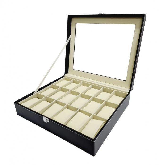 Cutie pentru Ceasuri, 18 spatii, Piele ecologica si catifea, Negru 0