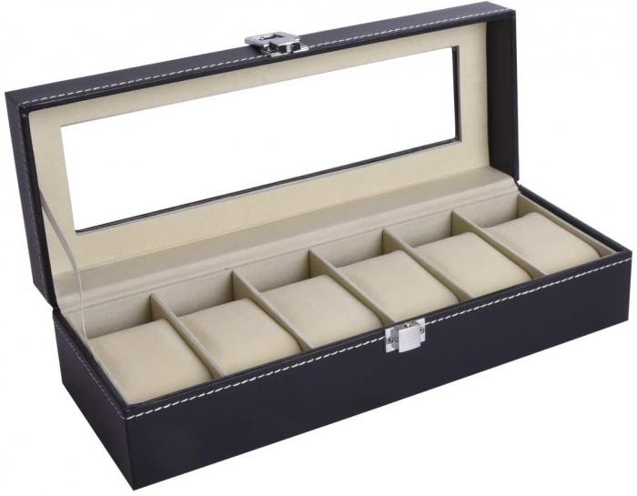 Cutie pentru 6 Ceasuri, piele ecologica si catifea, Negru [2]