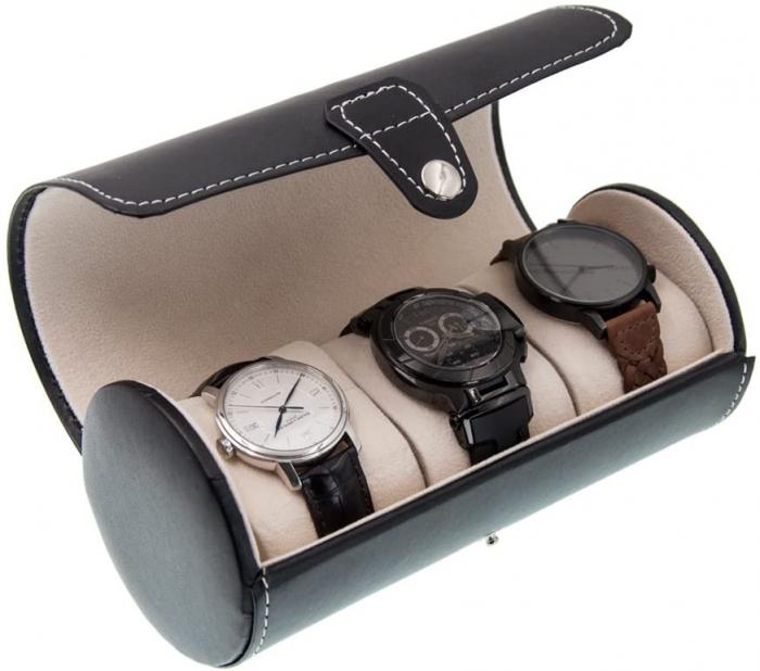 Cutie pentru 3 Ceasuri din piele ecologica neagra, Rotund, 19x9 CM 0