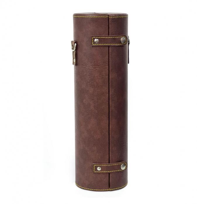 Cutie pentru Sticla de Vin cu 2 accesorii, piele ecologica, 36x11 CM, Maro 1