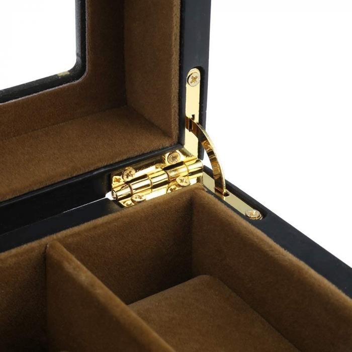 Cutie din Lemn pentru 6 Ceasuri, Lemn si Sticla, 31x11x8.5 CM, Negru 3